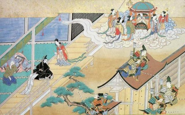 Kaguja odchádza späť na Mesiac, kým jej milovaní žialia a vojaci márne strážia palác.