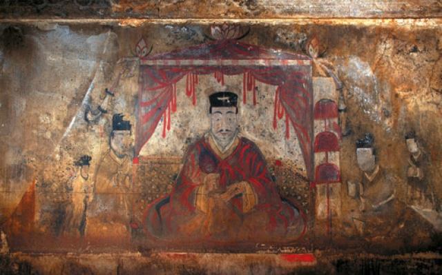 Nástěnné malby z hrobky v Anaku, z období Kogurja, vystavené v muzeu  Seoul Baekje.