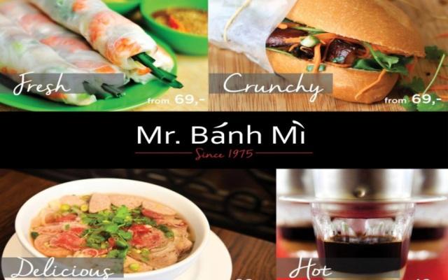 Poster s nabídkou bistra Mr. Banh Mi