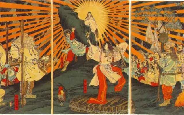 zvědavá bohyně slunce Amaterasu, vychází z jeskyně