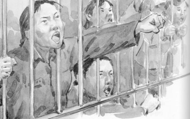 Demonstrace ve vězení z knihy Yu Gwan Sunod So Joong-ae