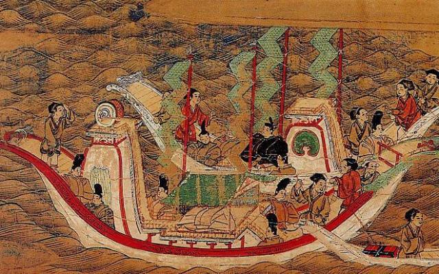 Dřevoryt lodi Kentóši