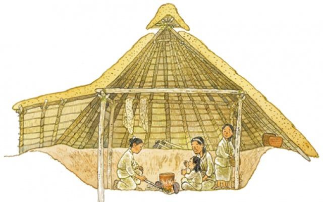 Kruhové obydlí, které si neolitický člověk stavěl.