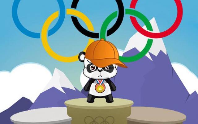 panda na stupni vítězů