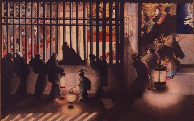 Nočná scéna v Yoshiware