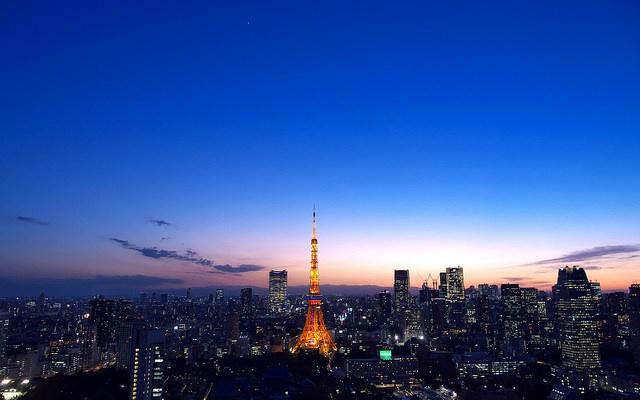 Pohled na Tokyo Tower a okolí