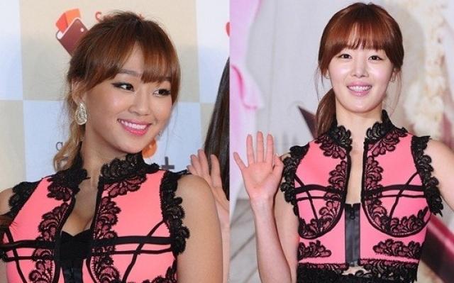 Sun Hwa, Hyolyn a Tiffany oblékly stejné růžovo-černé šaty,