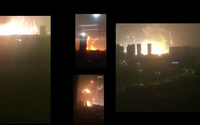 Záběry výbuchů