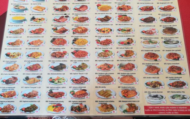 Čínská restaurace - menu